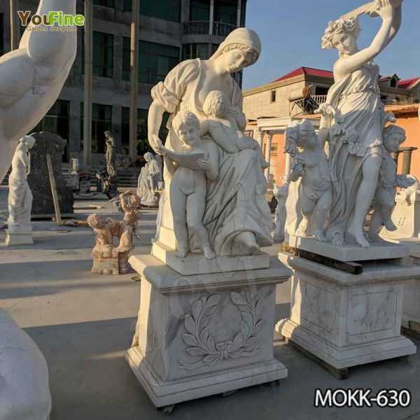 White Marble Woman and Children Statue for Sale