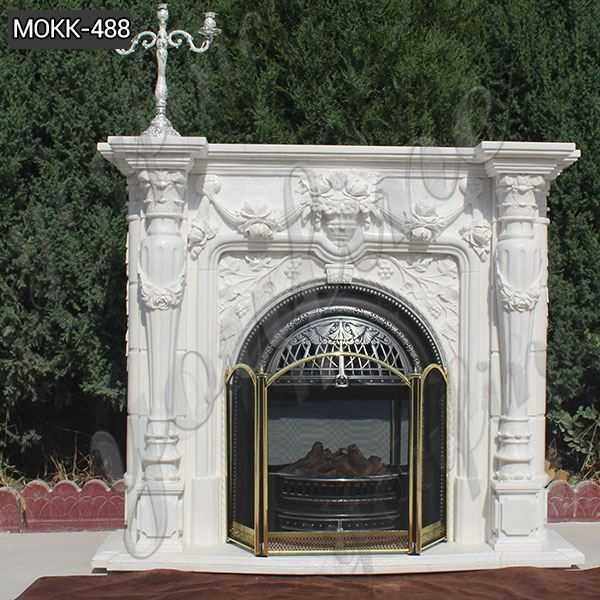 Simple Design White Marble Fireplace Mantels Supplier MOKK-488