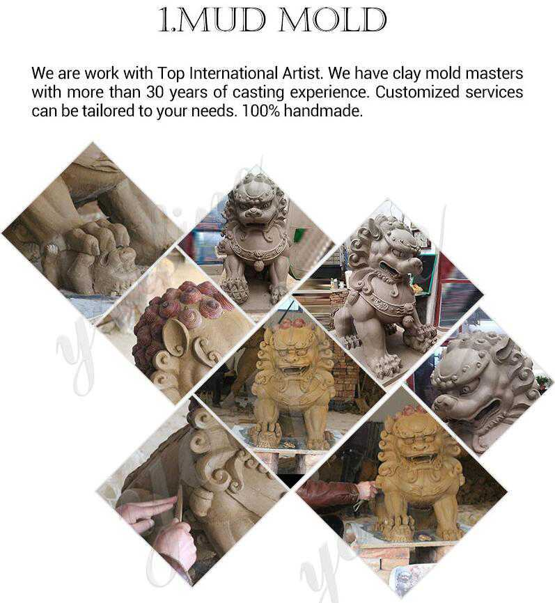 clay model of stone lion statue for sale