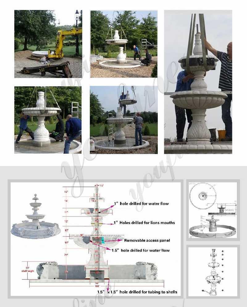 process-of-Beige Marble Statuary Garden Fountain
