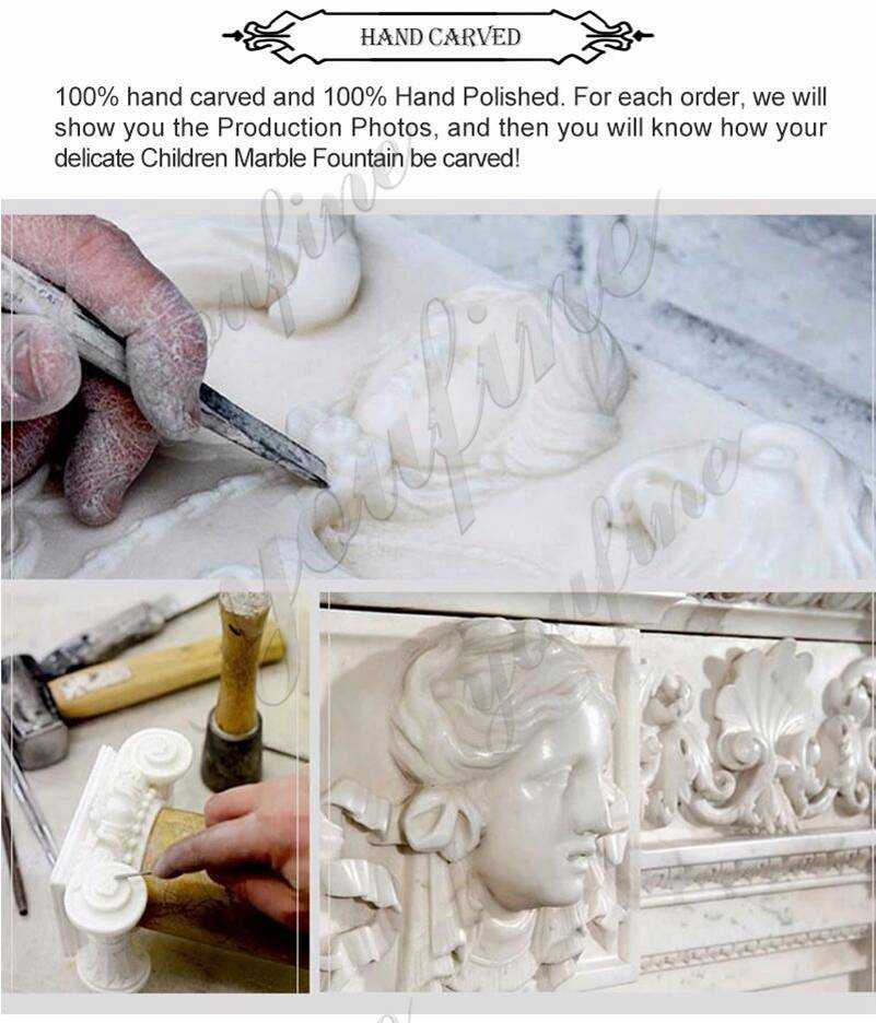 process of LHand Carved White Marble Woman and Children Statue
