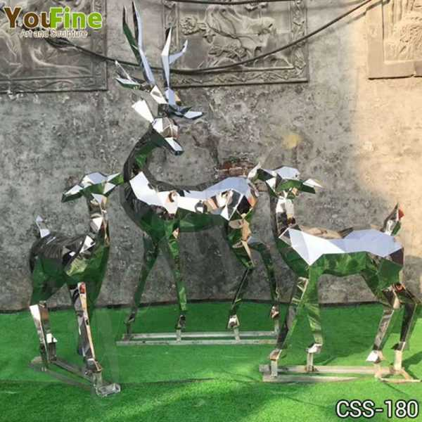 Abstract Outdoor Metal Deer Sculptures Group for Sale
