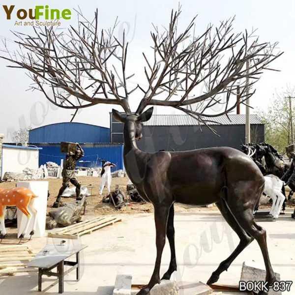Antique Bronze Deer Lawn Ornaments Statues for Sale