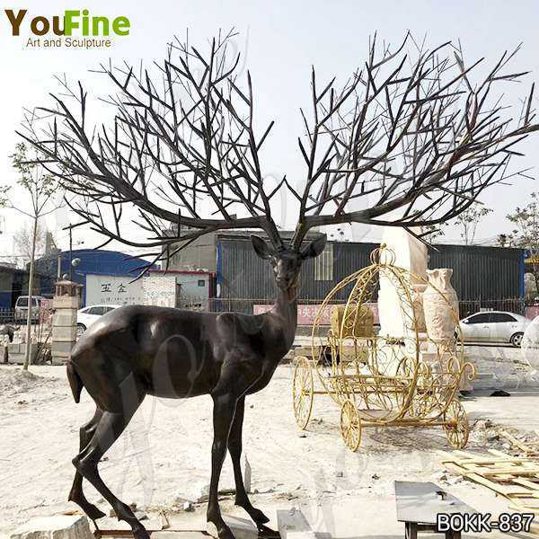 Antique Bronze Deer Lawn Ornaments Statues for Sale BOKK-837