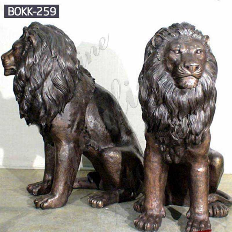 Antique Bronze Guardian Lion Statues for Outdoor Suppliers BOKK-259