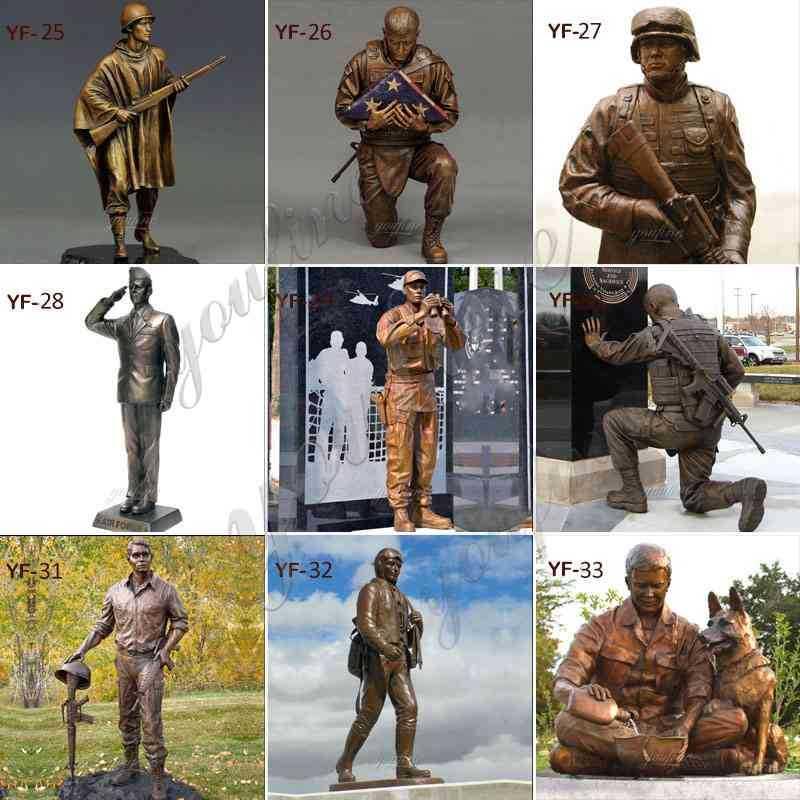 Antique Bronze Kneeling Soldier Statue