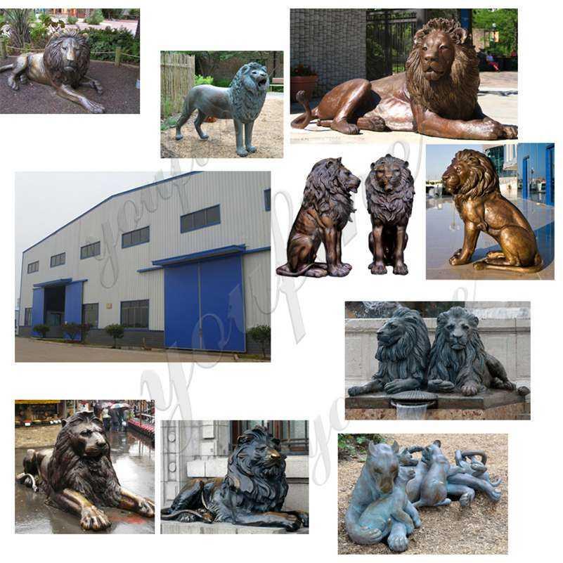Antique Bronze Lion Statues Outdoor