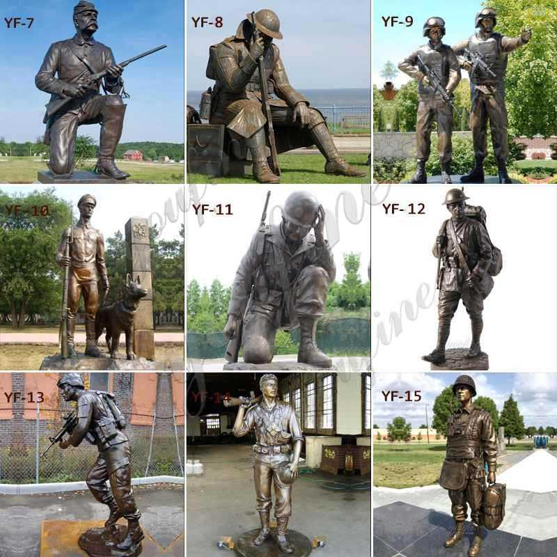Antique Bronze Soldier Memorial Statues