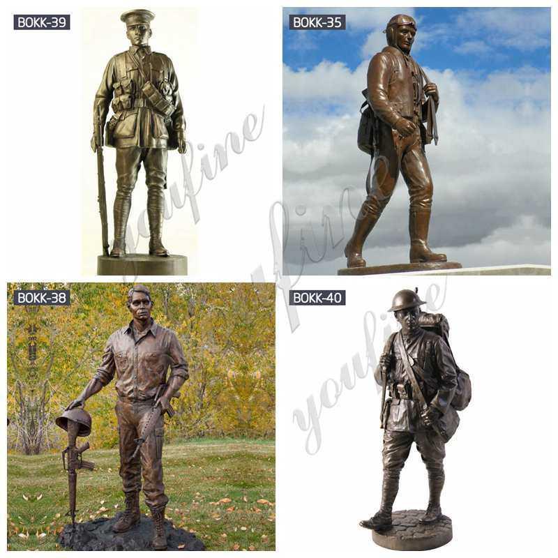 Antique Bronze Soldier Sculpture