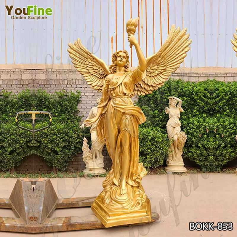 Life Size Bronze Angel with Torch Statue Factory Supply BOKK-853