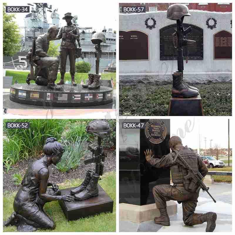 Bronze kneeling Soldier Sculpture