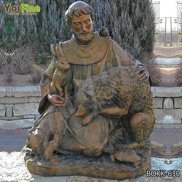 Catholic Outdoor St. Francis of Assisi Antique Bronze Garden Statue for Sale BOKK-630