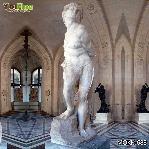 Classic White Marble Rebellious Slave Statue Replica