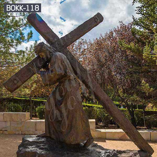 Customized Life Size Church Antique Bronze Jesus Carrying Cross Sculpture for Sale BOKK-118