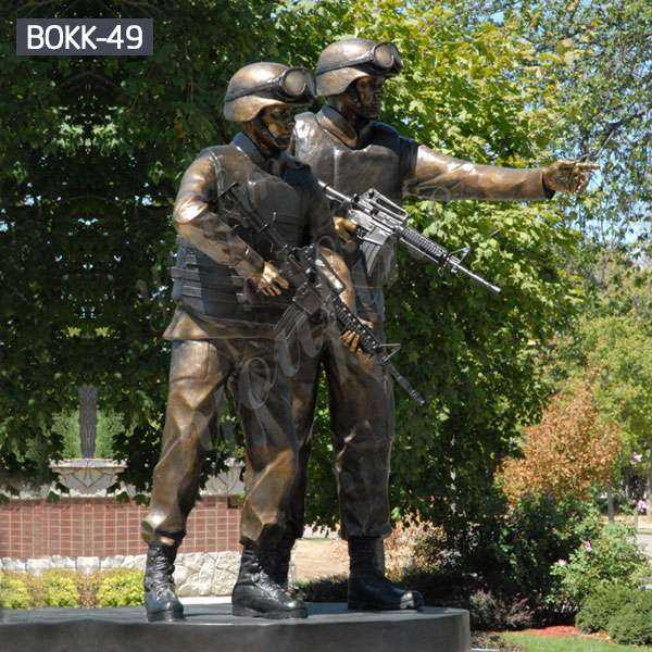 Customized Outdoor Antique Bronze Solider Garden Sculptures Manufacturer BOKK-49