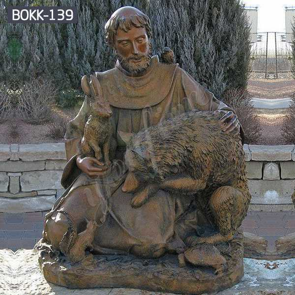 Famous Religious Saint Francis Bronze Garden Statue for Decoration Supplier BOKK-139