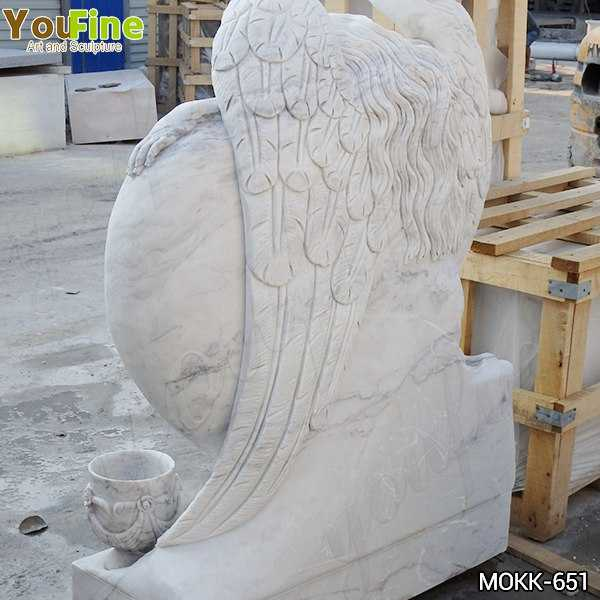Hand Carved Heart Shape Marble Angel Headstone