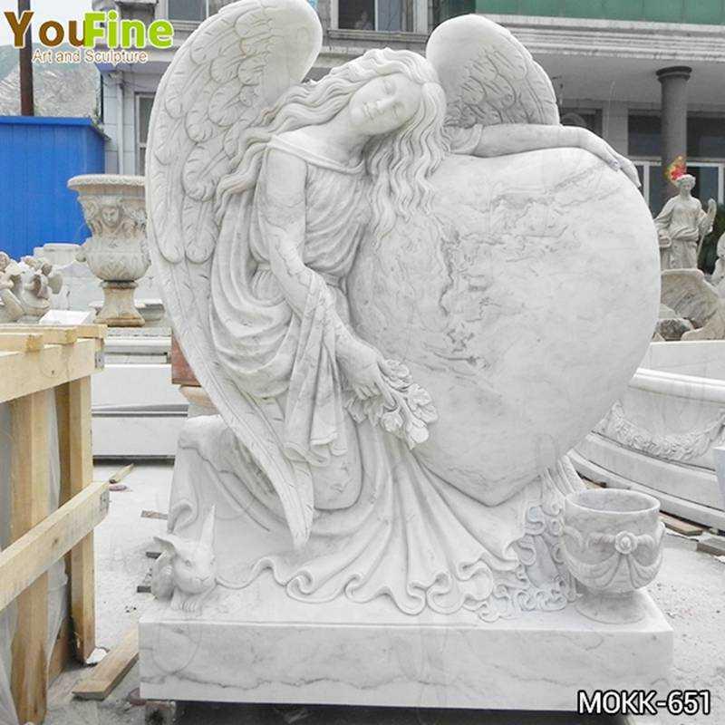 Heart Shape Marble Angel Headstone Factory Supply