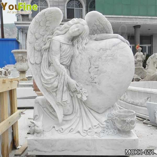 Hand Carved Heart Shape Marble Angel Headstone Factory Supply MOKK-651