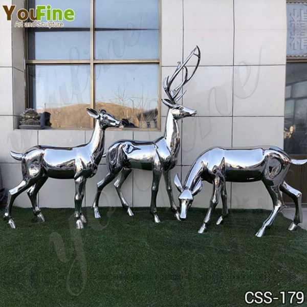 High Polished Outdoor Stainless Steel Deer Sculpture Manufacturer