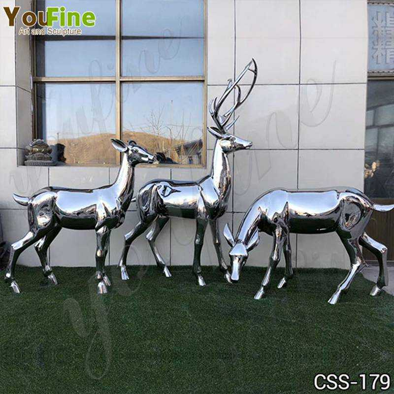 High Polished Outdoor Stainless Steel Deer Sculpture Manufacturer