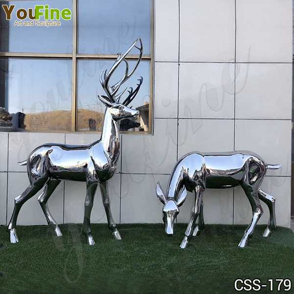 High Polished Outdoor Stainless Steel Deer Sculpture Manufacturer CSS-179