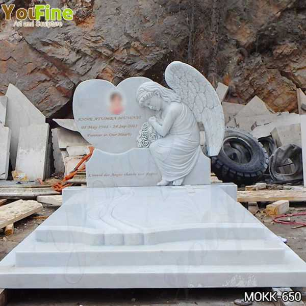 High Quality White Marble Upright Angel Headstones