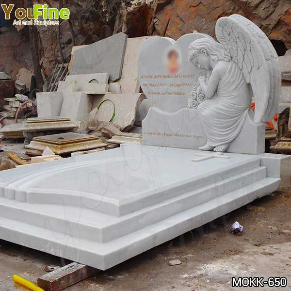 High Quality White Marble Upright Angel Headstones Prices