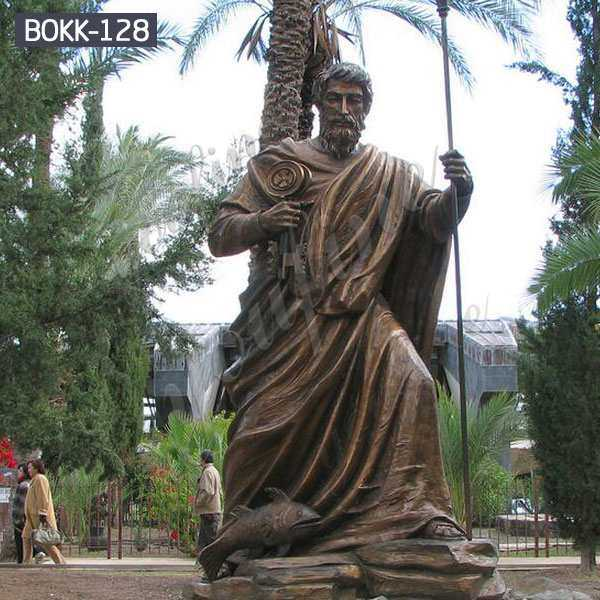 Hot-selling Outdoor Antique Bronze Saint Peter Statue in Capernaum for Church Maker BOKK-128