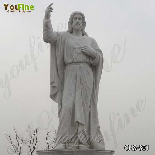 Large Catholic Sacred Heart of Jesus Marble Statue for Sale
