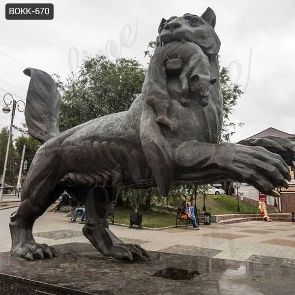 Large Outdoor Black Bronze Tiger Sculpture from Factory Supply
