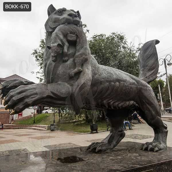 Large Outdoor Black Bronze Tiger Sculpture from Factory Supply BOKK-670
