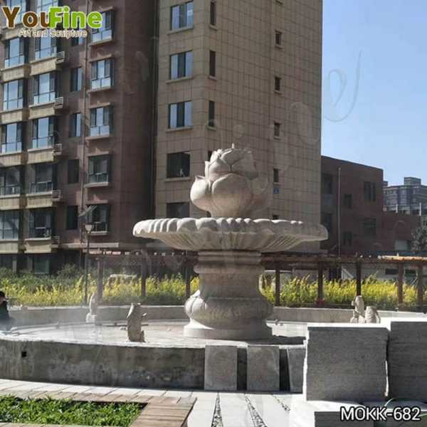 Large Outdoor One Tiered Granite Water Fountain for Sale