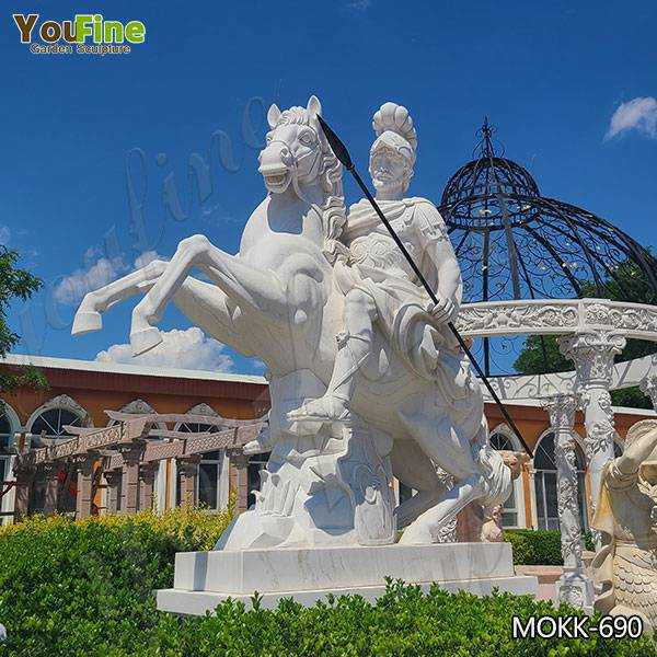 Large Roman White Marble Warrior Statue with Horse Suppliers