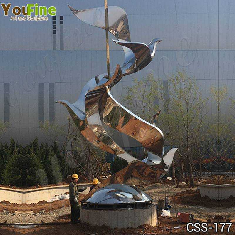 Large Stainless Steel Abstract Bird Sculpture Project Suppliers CSS-177