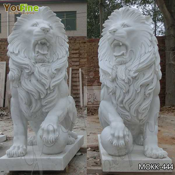 Large White Marble Lion Statues with Ball for Driveway Suppliers