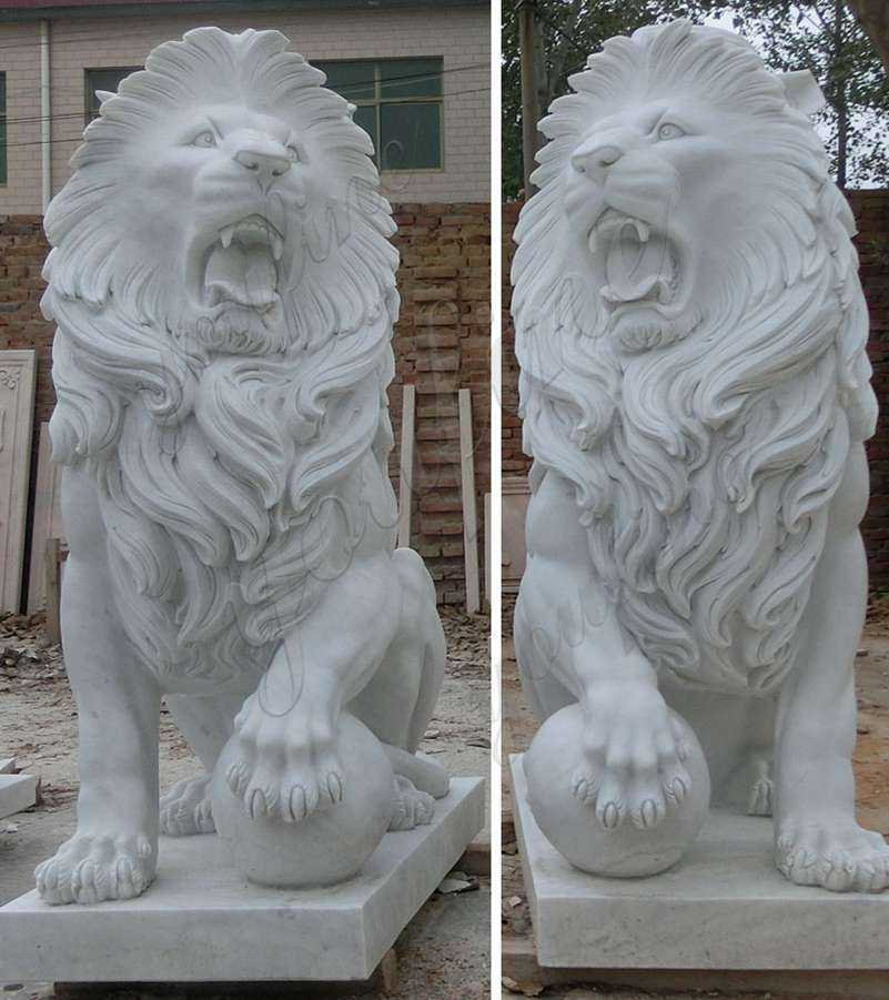 Large White Marble Lion Statues with Ball for Driveway