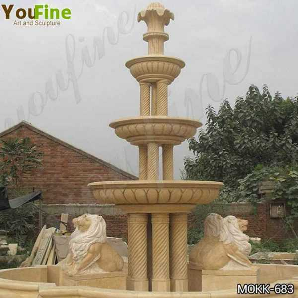 Large Yellow Marble Tiered Garden Lion Fountain