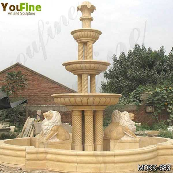 Large Yellow Marble Tiered Garden Lion Fountain Suppliers MOKK-683
