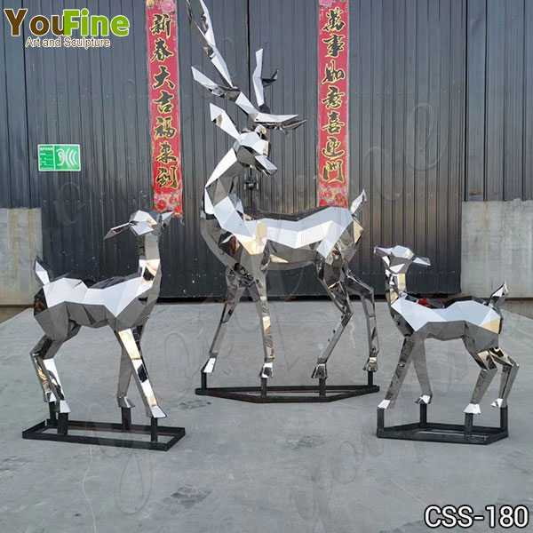 Life Size Abstract Outdoor Metal Deer Sculptures Group for Sale