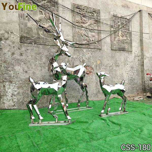 Life Size Abstract Outdoor Metal Deer Sculptures Group