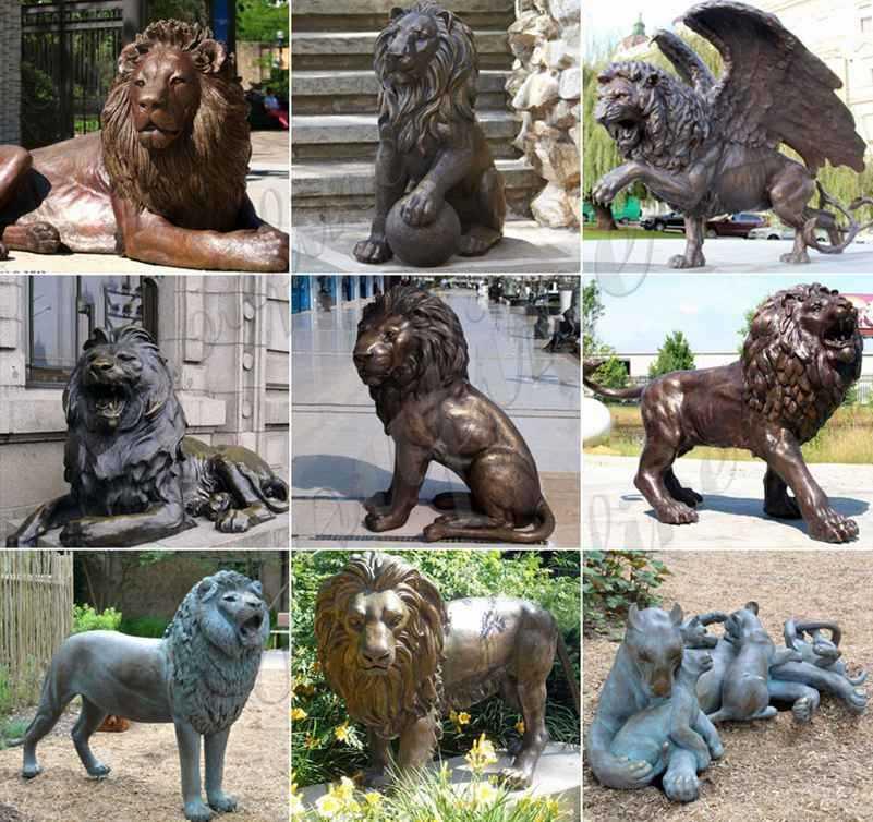 Life Size Antique Bronze Lion Statues Outdoor