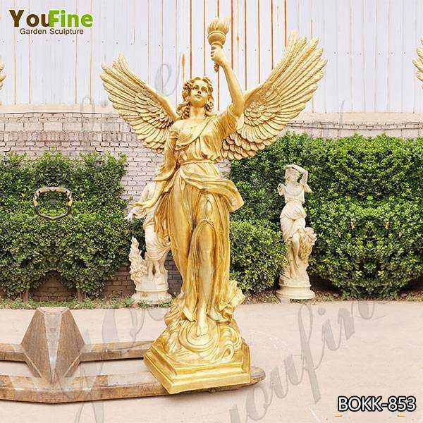 Life Size Bronze Angel with Torch Statue Factory Supply