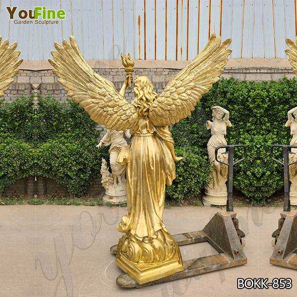 Life Size Bronze Angel with Torch Statue