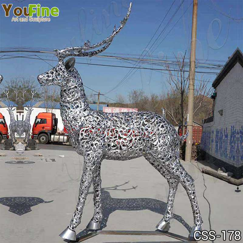 Life Size Modern Stainless Steel Deer Sculpture Design Suppliers CSS-178