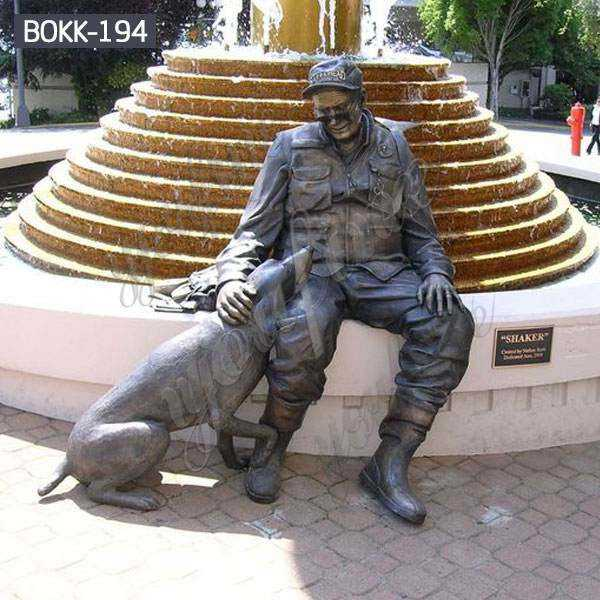 Life Size Outdoor Military Bronze Soldier and Dog Sculpture Monument for Sale BOKK-194