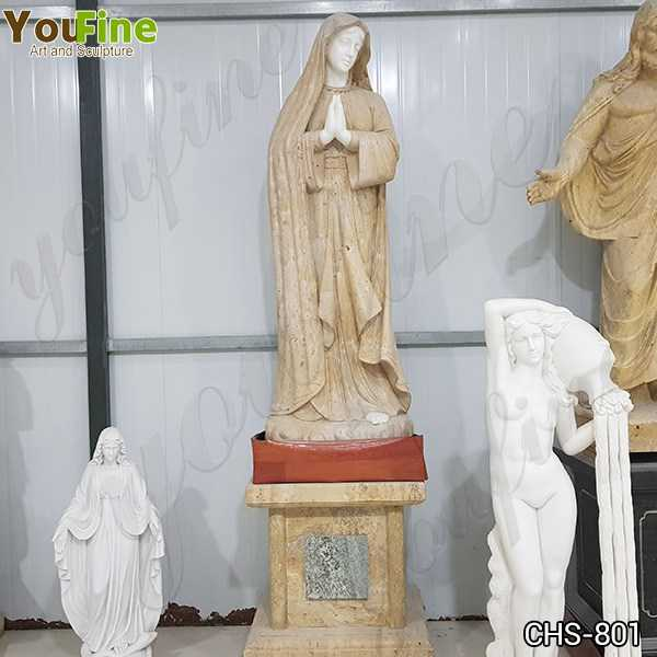Life Size Outdoor Natural Stone Mary Garden Statue