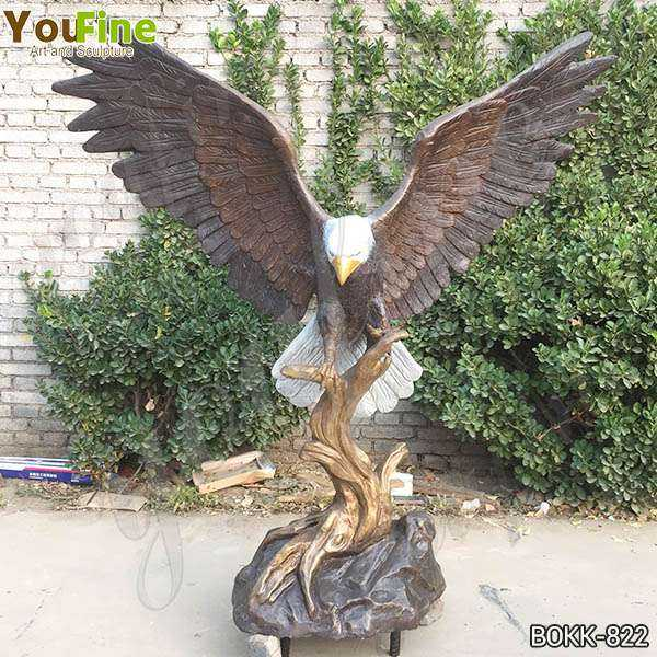 Life Size Solid Bronze Eagle Statue for Garden Decor for Sale BOKK-822