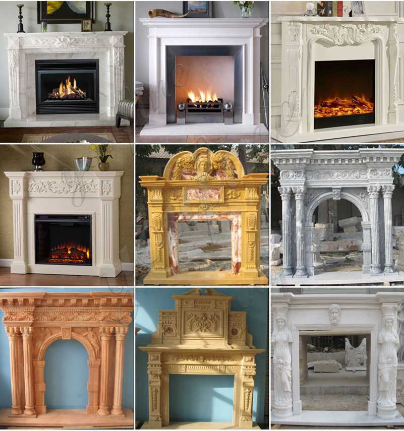 Marble French Fireplace Mantels with Floral Design for Home Decor for Sale