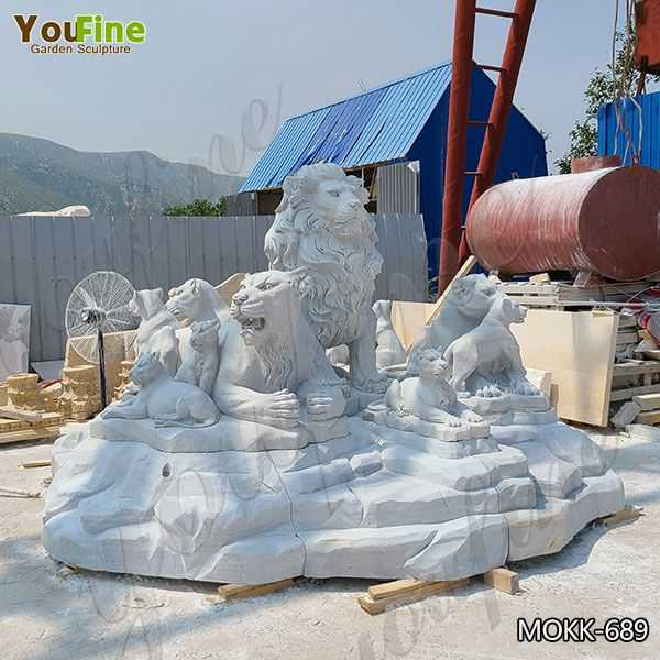 Marble Lion Family Statue Animal Sculpture for Sale